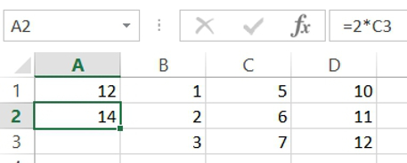 When A1 was copied to A2, the spreadsheet automatically shifted the cell reference while keeping its relative position the same: 1 cell down and 2 over to the right from my current location.