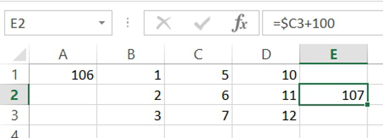 Adding a dollar sign ($) to the cell reference stopped the automatic shifting of the column that would otherwise have occurred when copying and pasting our formula. In this example, shifting did occur by row. This is because there was not a $ placed in front of the 2 in the formula's cell reference.